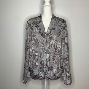 Rachel Roy Twisted Floral L/S Gray Blouse 12